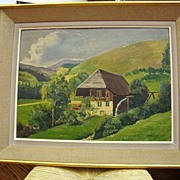 Oil on board French countryside dated 1947