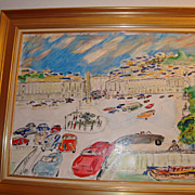 French Oil on board Paris Place de la Concorde signed Jean Wallis
