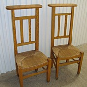 Pair of French prayer chairs with rush seat, circa 1870