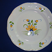 SOLD French hand painted faience plate  by artist  Renoleau