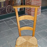 French prayer chair with rush seat, late 1800's