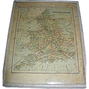 SALE Antique Lithograph Map of England and Wales by George Philip & Son Ltd.