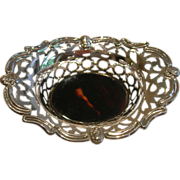 Pretty English  Sterling Silver  Tortoise Shell Basket # 1