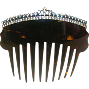 Regal Antique Tortoise Shell Hair Comb With Paste Stones - Crown