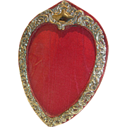 SALE Antique English Sterling Silver Heart Shaped Photograph Frame - Edwardian