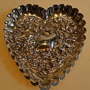 SALE Victorian English Sterling Silver Heart Shaped Dish - London 1894