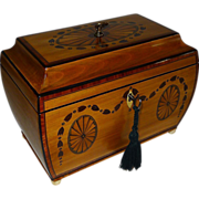 Fine George III Bombe Shaped Fruitwood Tea Caddy With Fan Paterae & Garland Inlay c.1810