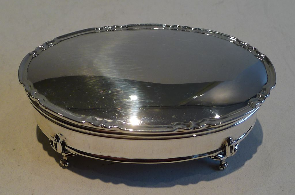 Antique Sterling Silver Jewelry or Trinket Box  - 1917