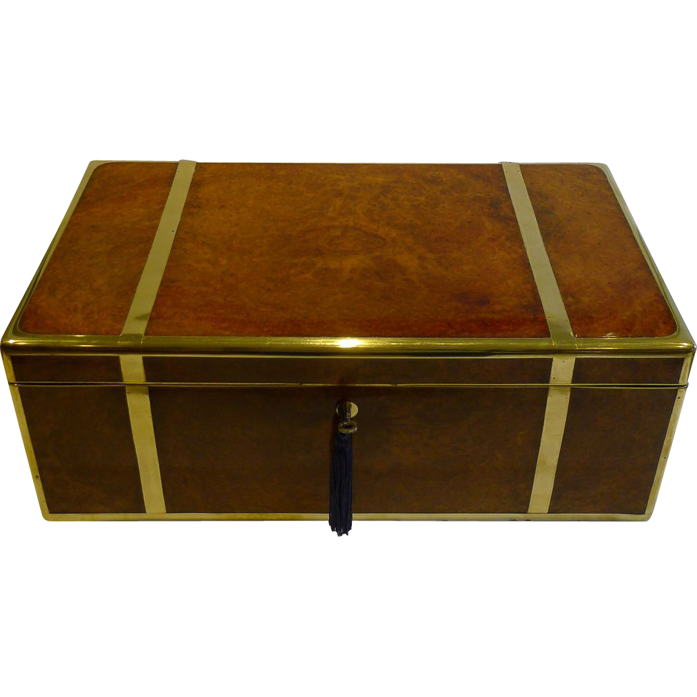 Rare Grand Anglo Indian Brass Bound Campaign Writing Slope / Lap Desk in Amboyna - Secret Drawers