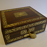English Regency Foliate Cut Brass Inlaid Rosewood Desk or Table Box c.1820