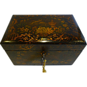 SALE Antique English Painted Papier Mache Tea Caddy c.1850