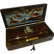 Unusual English William IV Fitted Rosewood Travel Writing Box c.1830