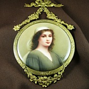 SALE Victorian Hand Painted German Porcelain Plaque of Ruth - by Wagner
