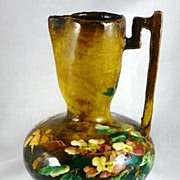 Antique French Barbotine Pitcher / Ewer