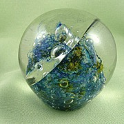 SALE ONE OF A KIND - RARE Robert Barber Abstract Paperweight Dated Oct. 1970