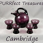Unusual Cambridge Art Deco Amethyst Glass Cordial Decanter Set 3400