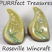SALE Pair of Roseville Wincraft Bookends ~ #259-6 Green ~ Signed