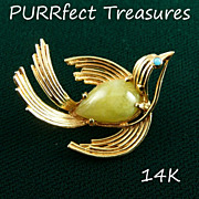 14K Gold & Jade Bird Brooch / Pin