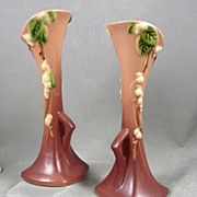 Pair of Roseville Apple Blossom Bud Vases #1BV-7