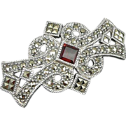 Vintage Sterling Marcasite and Garnet Brooch / Pin by Judith Jack