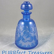 Antique Bohemian Cut to Clear Blue Scent / Perfume / Bottle