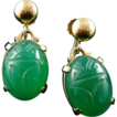 14K Chrysoprase Scarab Screw Back Earrings