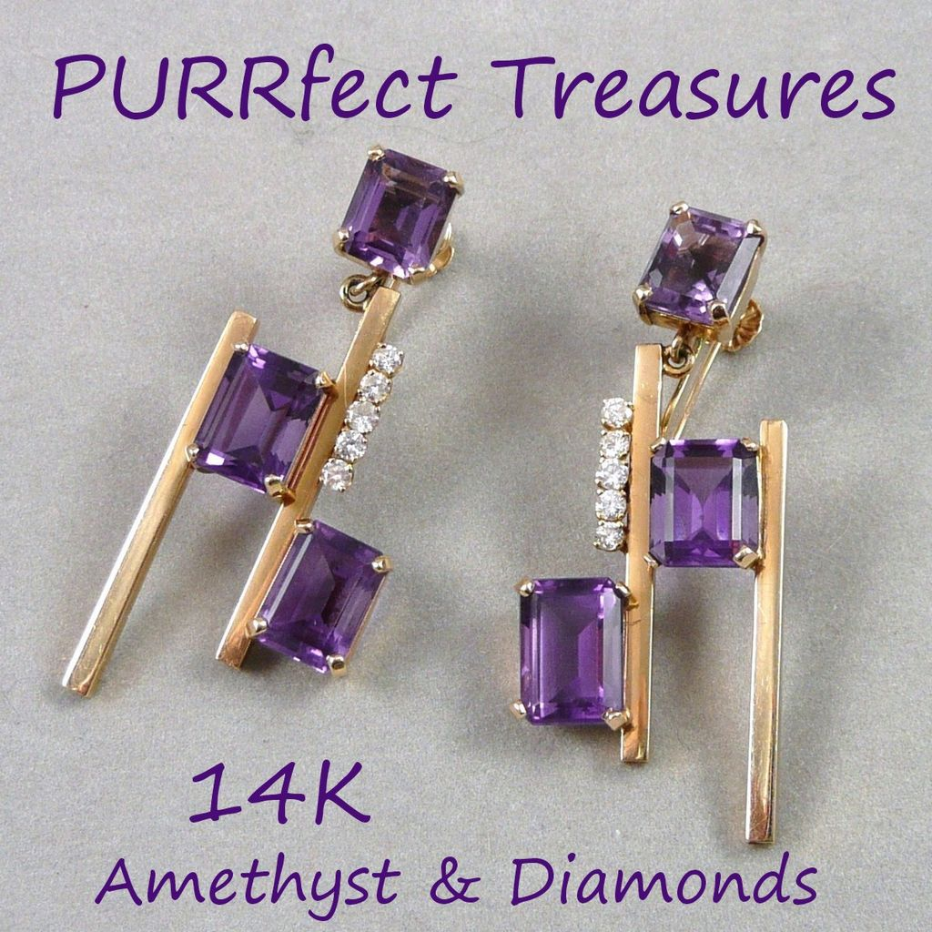 Fabulous Mid-Century Modern 14K Amethyst & Diamond Earrings