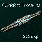 Art Deco Sterling Enamel & Rhinestone Bar Pin