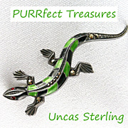 Fabulous Uncas Art Deco Sterling Marcasite Enamel Lizard Brooch / Pin