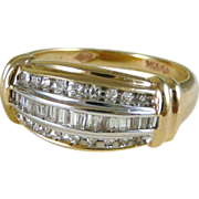 10K Gold Triple Row Diamond Band