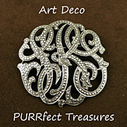 Art Deco Sterling & Marcasite Initial Pin / Brooch