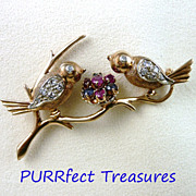 Darling 14K Rose Gold Diamond & Sapphire Birds & Nest Brooch / Pin