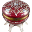 Victorian Cranberry Glass Footed Enameled Dresser Box / Jewel Casket