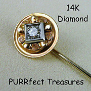 14K Gold & Diamond Stick Pin / Stickpin