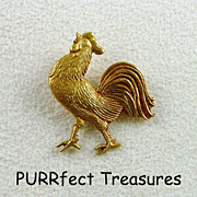 14K Gold Rooster Stick Pin - Unique