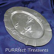 Art Nouveau Daffodil Oval Pewter Tray