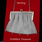Antique Sterling Silver Mesh Link Purse