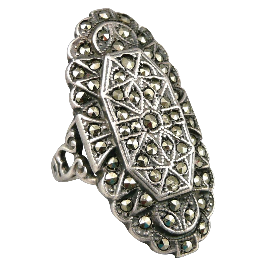 vintage sterling silver marcasite ring from