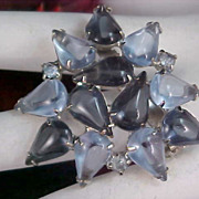 DeLizza & Elster Light & Dark Blue Art Glass & Rhinestone Brooch