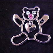 Vintage LIA Signed Silver Dangle Heart TEDDY BEAR and Rhinestone Brooch