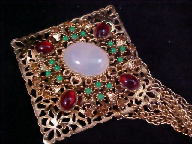Western Germany Milky  Glass ~Jade~Carnelian & Cognac Filigree Massive Sash Brooch/Pin