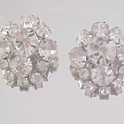 D & E Diamante   HEADLIGHT & round Cut Rhinestone Clip Earrings
