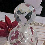 Bohemian Hand Cut Heavy LEAD CRYSTAL Perfume Bottle ~ 1 1/2 lbs.Before packing)
