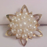 Exquisite 1930's  Simulated Seed Pearl Cluster Gilt Gold Brooch