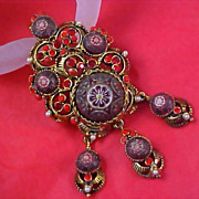 VICTORIAN STYLE ~ ART GLASS -  Red Rhinestones~ Faux Seed Pearls Dangle  Brooch/Pendant