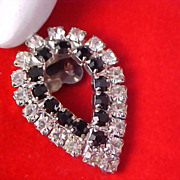 ART DECO - Diamante & Jet Rhinestones - Pearl Shape Old Purse or Shoe Clip