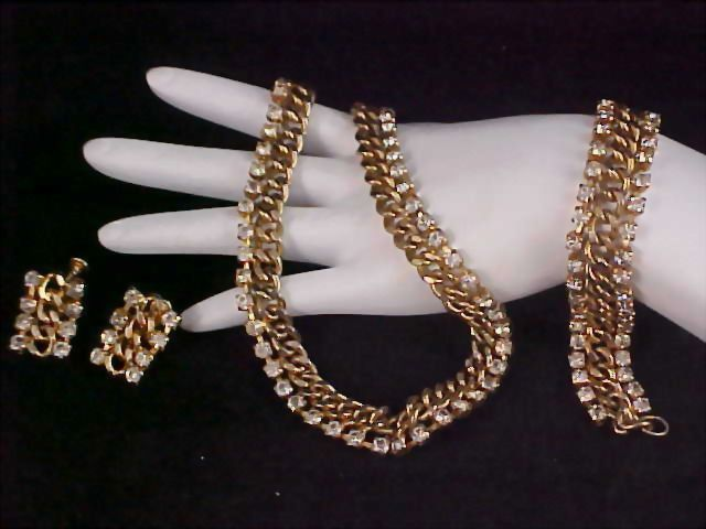 Diamante Chaton & Gold Plated ARTICULATED FULL PARURE - Necklace/Choker/Bracelet/ & Earrings
