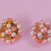 1940's World War II - Simulated Pink Pearl & Amber Lucite Cluster Clip Earrings - JAPAN
