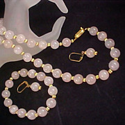 Showstopper Genuine Rose Pink Quartz ~ Full Parure - Necklace - Bracelet & Lever Back Earrings