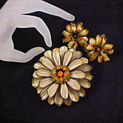 CELLULOID ~ Chrysanthemum Suite - Brooch & Earrings Rhinestones Green & Orange